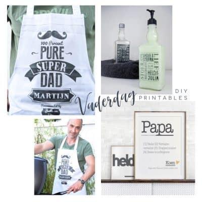 DIY Vaderdag cadeau printables: stoer BBQ schort, zeep dispenser of zelfgemaakte Vaderdag poster