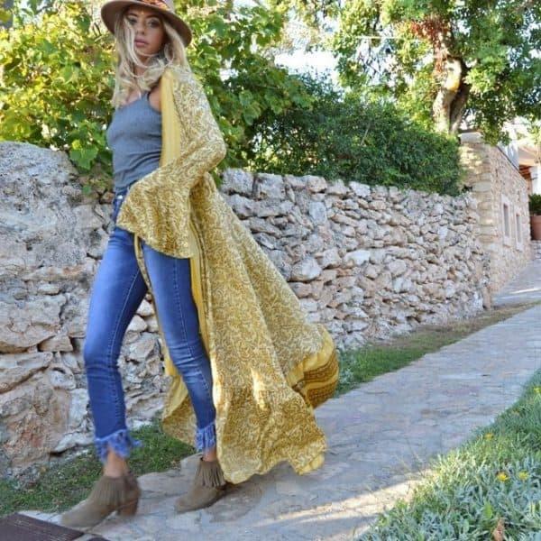 Maxi kimono Hello Sunshine Bohemian kimono, de boho Ibiza fashion