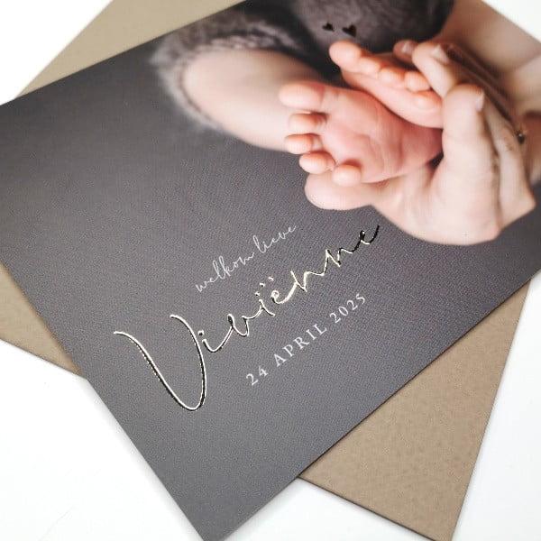 geboortekaartje foto goudfolie opdruk