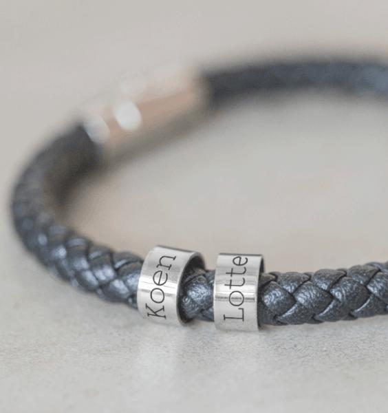 persoonlijke sieraden rundleren armband met namen