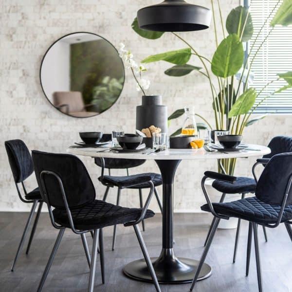 rond eettafel velvet stoelen