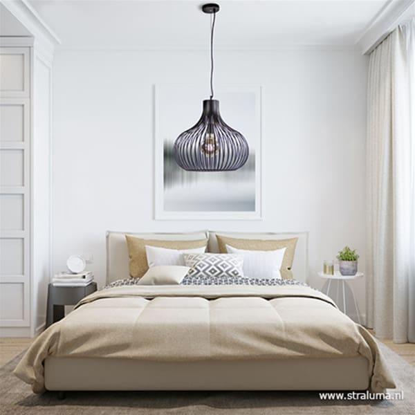 Metalen draad hanglamp modern zwart met open structuur