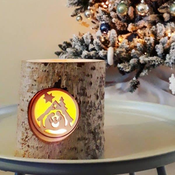 Houten kerststal lichtje Finkbeiner Holz Design