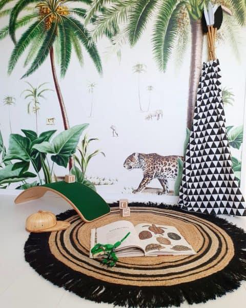 kinderkamer decoratie Tapis Petit Vloerkleed Jute Tess | Black