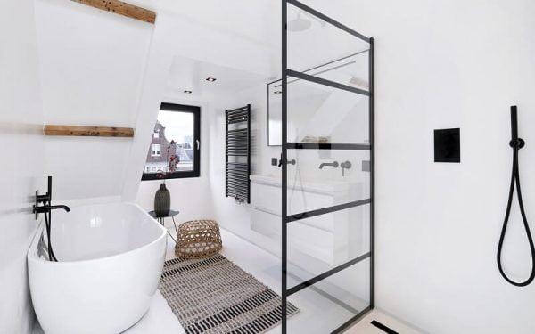 Industriële badkamer in monochrome stijl