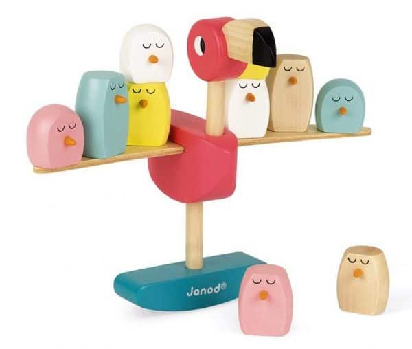 roze flamingo janod houten speelgoed evenwichtsspel