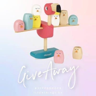 WIN: Janod Evenwichtsspel Roze Flamingo houten speelgoed
