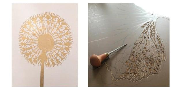 kerstcadeau inspiratie lino print monika petersen paardenbloem goud
