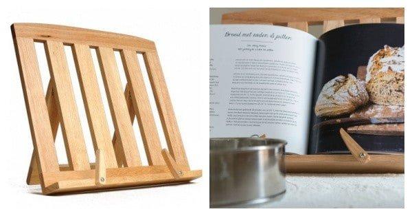 kerstcadeau inspiratie kookboekstandaard rubberhout