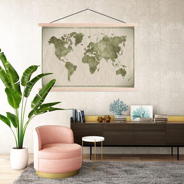 Schoolplaat Wereldkaart Green Watercolor - Sweet Living Shop