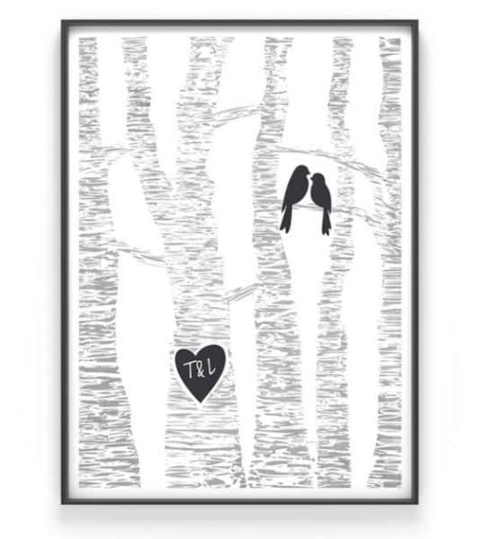 poster love birds met initialen
