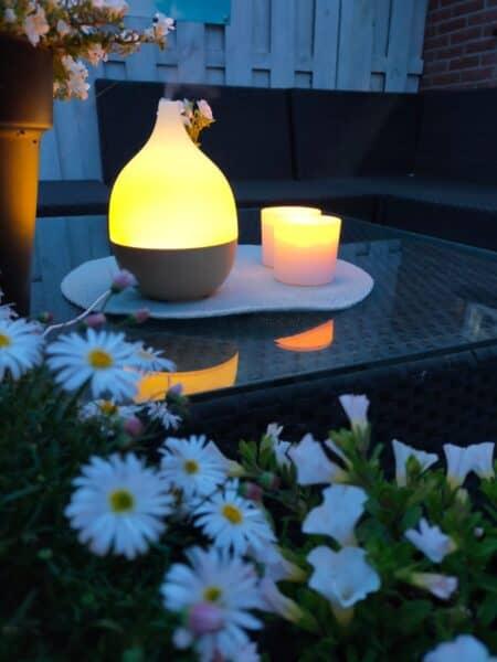 De etherische oliën van Geurwolkje verjagen muggen in de zomernacht