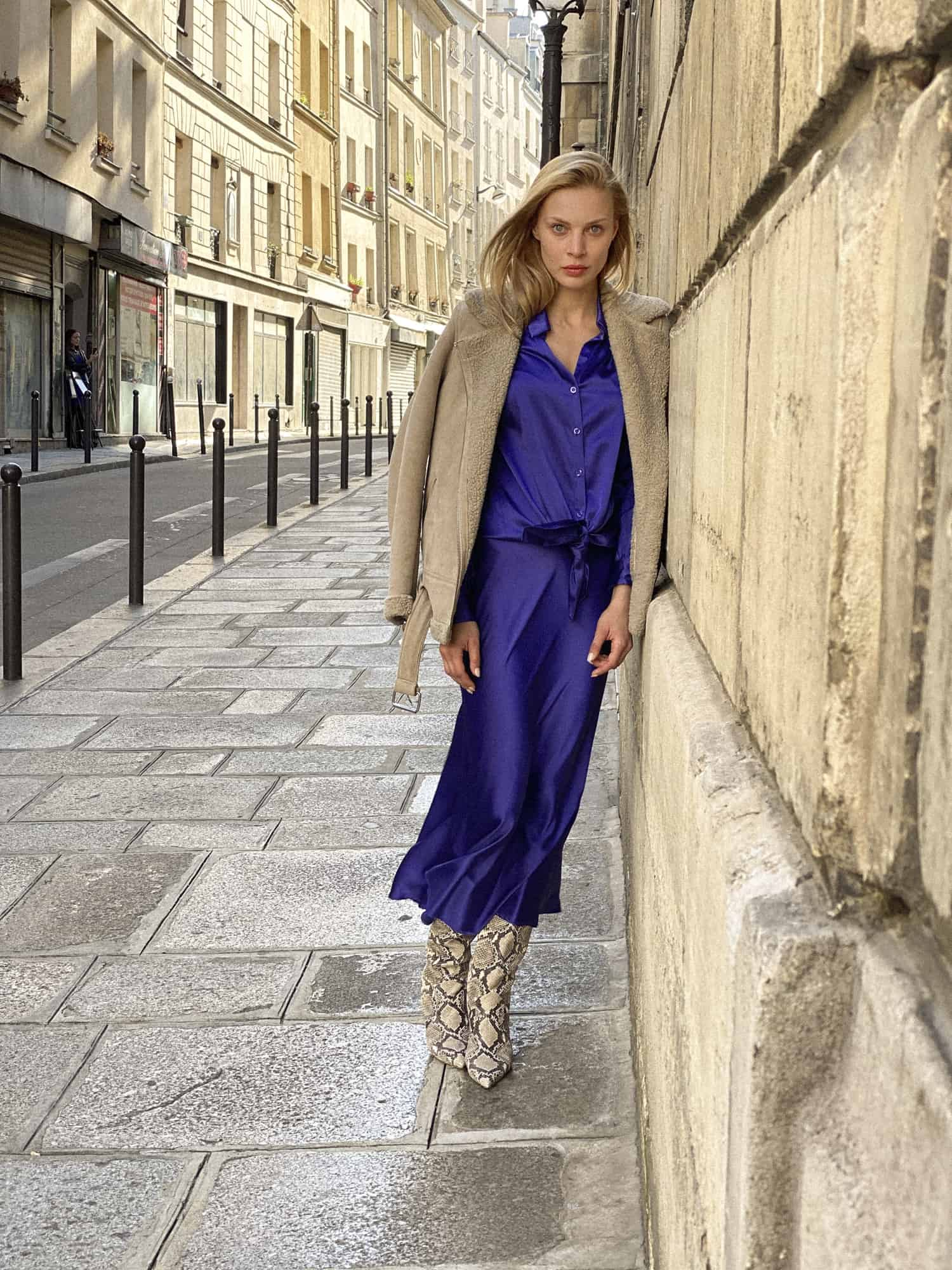 zijde blouse rok blauw
