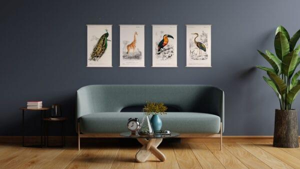 Animal illustrations textielposter collectie