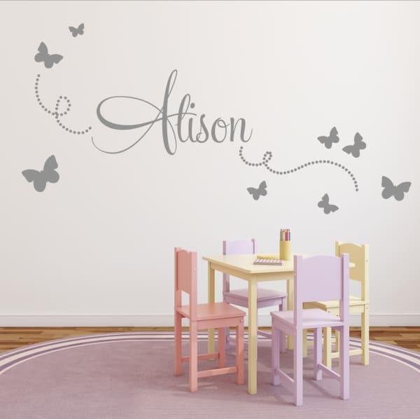 vlinderstickers met naam meisjeskamer